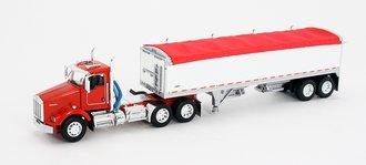 1:64 Kenworth T-800 w/Wilson Short Grain Trailer (Red/White)
