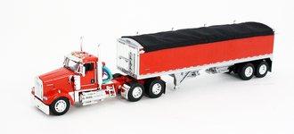 1:64 Kenworth W900 w/Wilson Short Grain Trailer (Red/Red)