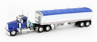 1:64 Kenworth W900 w/Wilson Short Grain Trailer (Blue/White)