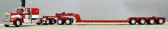 "Kenworth W900A 60"" Sleeper w/Fontaine Lowboy Trailer, Flip Axle & Jeep (Red/White)"