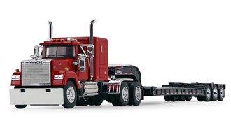 """Mack Super-Liner 60"""" Sleeper w/Talbert Tri-Axle Lowboy (Red/Black)"""