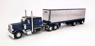 "Peterbilt 359 w/63"" Flattop Sleeper w/40' Chrome Vintage Van Trailer ""Blue Leasing"""