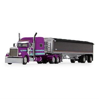 "1:64 Peterbilt 379 w/70"" Mid-Roof Sleeper & 50' Wilson Grain Trailer ""Justin Allison Trucking"""
