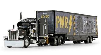 "1:64 Peterbilt 389 Mid-Roof Sleeper w/Kentucky Moving Trailer ""AC/DC: Power Up"" (Black)"