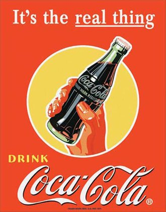 Tin Sign - Coke - It's the Real Thing - Bottle In Hand
