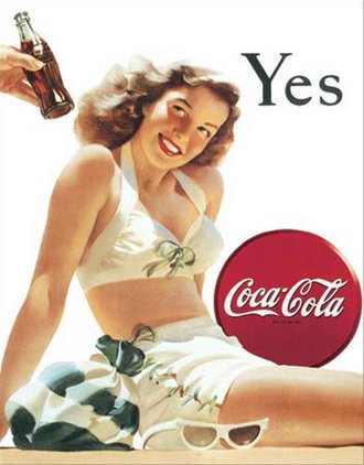 Tin Sign - Coke - Yes - White Bathing Suit