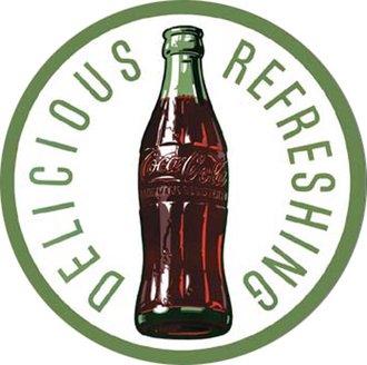 Tin Sign - Coke - 60's Bottle & Logo (Round)