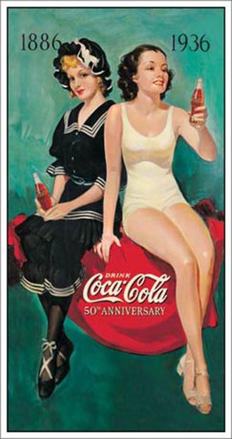 Tin Sign - Coke - Sunbathers (1886-1936)