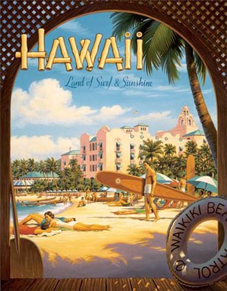 Tin Sign - Erickson - Hawaii - Land of Surf & Sunshine