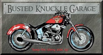 Tin Sign - Busted Knuckle Garage - Bike