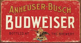 Tin Sign - Budweiser - Logo (Weathered)