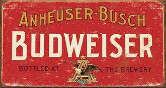 Tin Sign - Budweiser - Logo (Weathered)