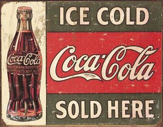 Tin Sign - Coke - 1916 Ice Cold (Weathered)