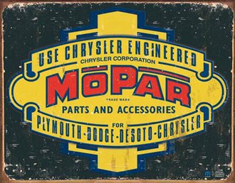 Tin Sign - Mopar Logo '37 - '47 (Weathered)