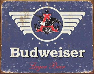 Tin Sign - Budweiser 1936 Logo (Weathered)