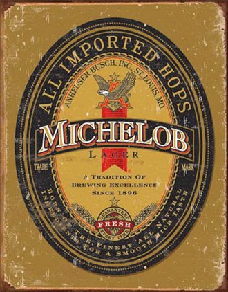 Tin Sign - Michelob Logo (Weathered)