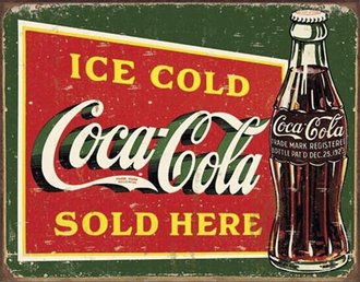 Tin Sign - Coke - Ice Cold Green (Weathered)