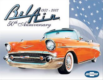 Tin Sign - Chevy Bel Air - 50th Anniversary