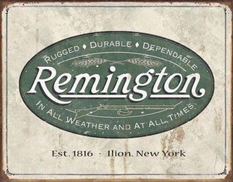 Tin Sign - Remington - Weathered Logo (Weathered)