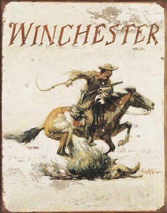 Tin Sign - Winchester Logo (Weathered)