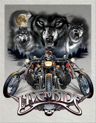 Tin Sign - Live To Ride - Wolves