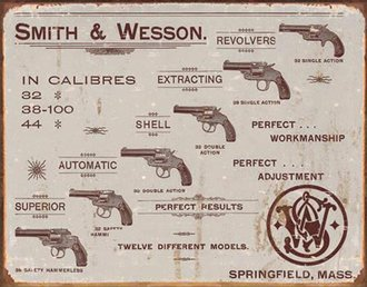 Tin Sign - Smith & Wesson - Revolvers (Weathered)