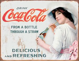 Tin Sign - Coke - Through a Straw (Weathered)