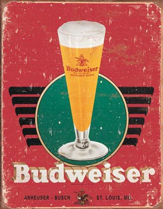 Tin Sign - Budweiser - Retro Glass (Weathered)