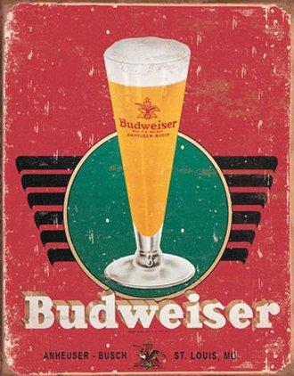 Tin Sign - Budweiser - Retro Glass (Weathered)