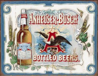 Tin Sign - Anheuser-Busch - Bottled Beers (Weathered)