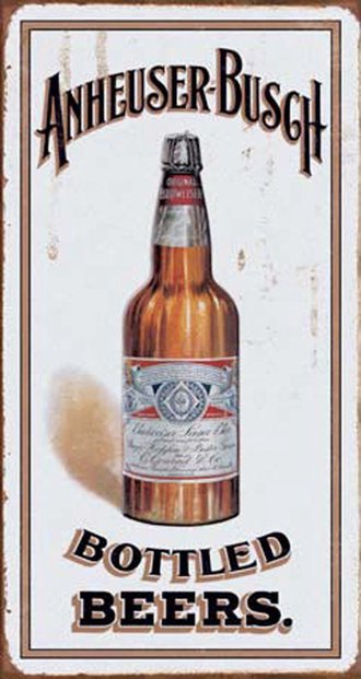 Tin Sign - Anheuser Busch - Bottled Beers (Weathered)
