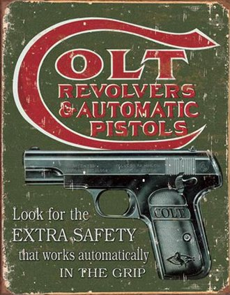 Tin Sign - Colt - Extra Safety (Weathered)