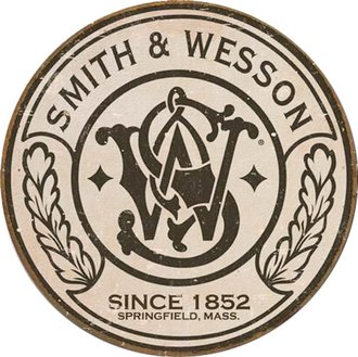 Tin Sign - Smith & Wesson Logo (Weathered) (Round)