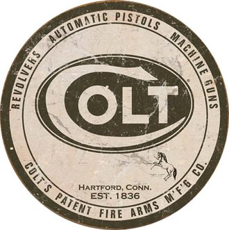 Tin Sign - Colt - Logo (Weathered) (Round)