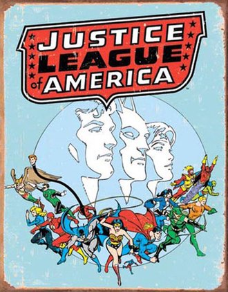 Tin Sign - Justice League America - Retro (Weathered)