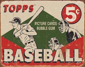 Tin Sign - Topps 1955 Baseball Box (Weathered)