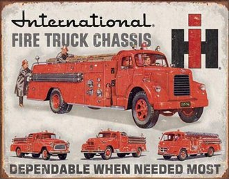 Tin Sign - International Fire Truck Chassis (Weathered)