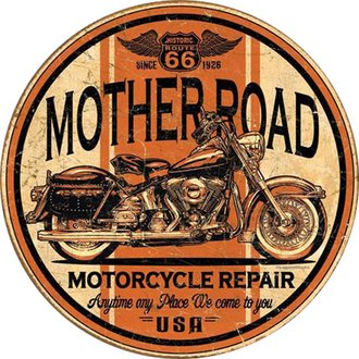 Tin Sign - Mother Road Motorcyle Repair (Weathered) (Round)