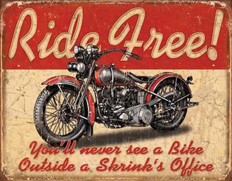 Tin Sign - Motorcycle - Ride Free (Weathered)