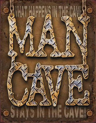 Tin Sign - Man Cave - Diamond Plate (Weathered)