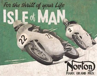 Tin Sign - Norton Motorcycles - Isle of Man (Weathered)