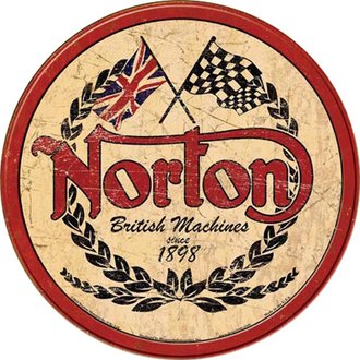 Tin Sign - Norton Motorcycles - Logo (Weathered) (Round)
