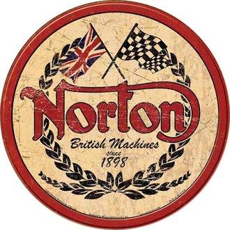 Tin Sign - Norton Motorcycles - Logo (Weathered) (Round)