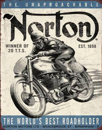 Tin Sign - Norton Motorcycles - Winner (Weathered)