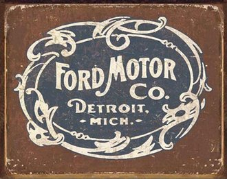 Tin Sign - Ford - Historic Logo (Weathered)