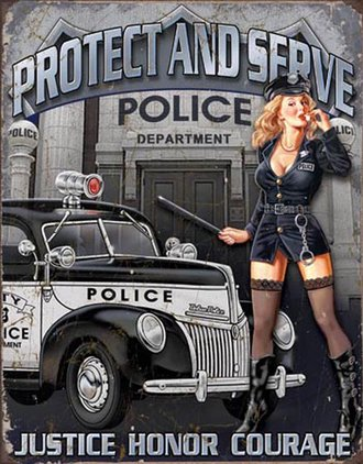 Tin Sign - Police Dept - Protect & Serve (Weathered)