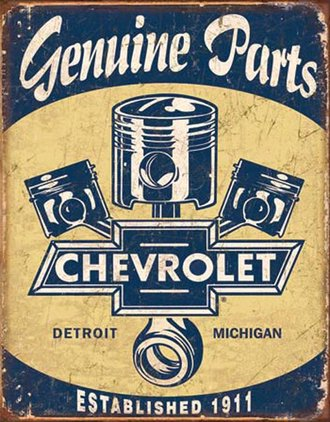 Tin Sign - Chevy Genuine Parts - Pistons (Weathered)
