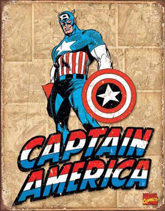 Tin Sign - Captain America - Retro Panels (Weathered)