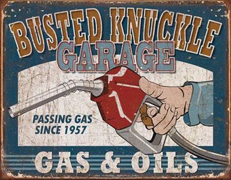 Tin Sign - Busted Knuckle Gas & Oils (Weathered)