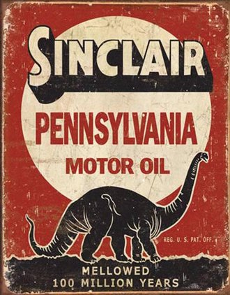 Tin Sign - Sinclair Motor Oil - 100 Million Years (Weathered)